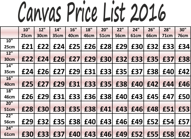 Canvas Price List